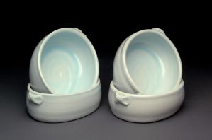 Gas Fired Oval Bowls with Chun Clear Glaze by MBrownCeramics