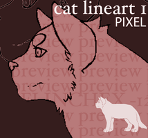 CAT LINEART 1 [PIXEL] by flinchex