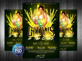 Glows in the Dark Party Flyer PSD by Grandelelo