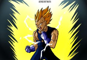 Angry Vegeta colored by rondostal91