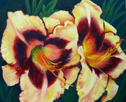 Cream Daylilies by TernFeather