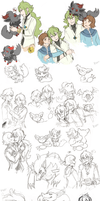 Pokemon Sketchdump by RileyKitty