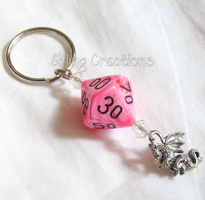 Pink Dragon Dice Keychain by merigreenleaf