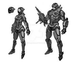 sketching cyborg cops by ShadCarlos