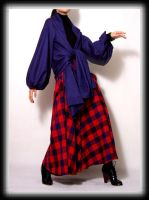 Blue wool cape coat 4 by yystudio