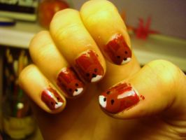Christmas reindeer nails by luminousleopard