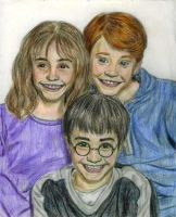 Hermione, Ron, and Harry by DKCissner