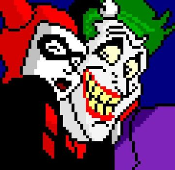 pixel harley quinn and the joker (harlequinade) by Ldysm