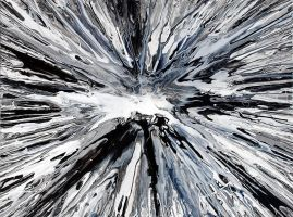 Black and White Spin Painting by Mark-Chadwick