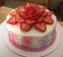 Strawberry flower Cake by Crosseyed-Cupcake