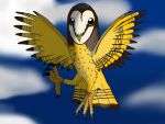 Me in owl form flying at night by barnowlgurl23