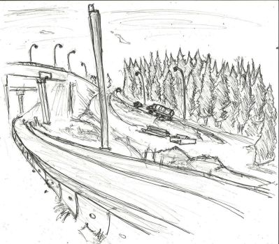 A Highway Drawing by Decemberian