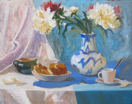 Still life with white peonies by Luzblanca