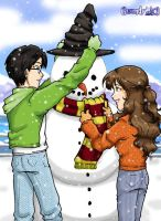Harry and Hermione's Snowman by gwendy85