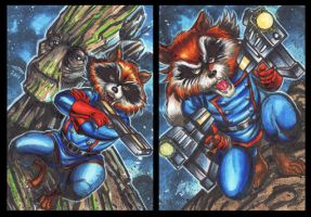 ROCKET RACCOON AND GROOT PERSONAL SKETCH CARDS by AHochrein2010