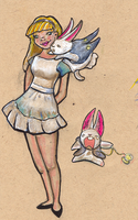Alice and the white rabbit by nippyfrog