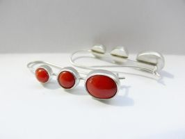 Silver earrings with corals by irineja