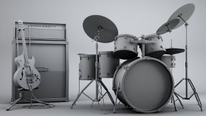 3d Guitar and Ampstack and Drum set by bewsii