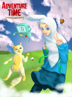 Adventure Time with Farhana And Cake Beemo by artdeeb96