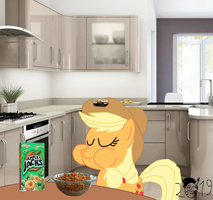 Applejack eats aplle jacks by pikachuandpichu106