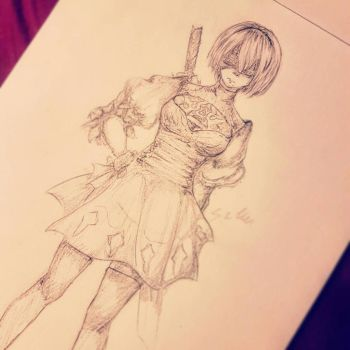 2B Sketch  by Satou-su