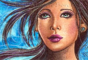 ACEO Flying Hair by WitchiArt