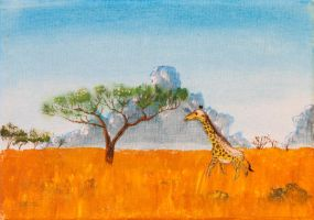 Giraffe on the Savanna. by Temporalvisions