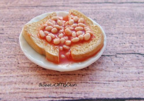 Beans on Toast Miniature by SweetsOfMyOwn