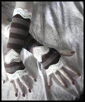 Brown Striped Arm Warmers by ZenAndCoffee