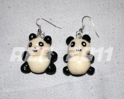 Panda Polymer Earrings by QueenNekoyasha