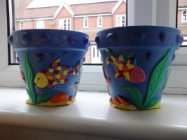 Ocean Flower Pots (2nd pair). by Anita-Sanderson