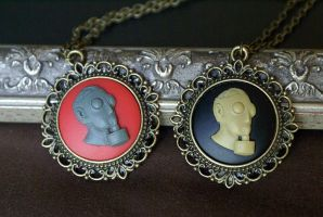 Gas Mask Necklaces by foowahu-etsy