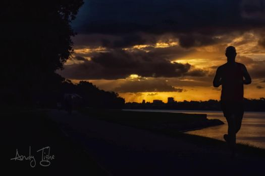 Nice Silhouette with sunset by andytighe