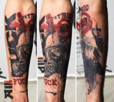 F*ck the system in trash polka style by enhancertattoo