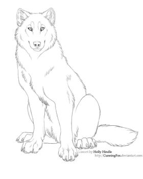 Free lineart - wolf sitting by CunningFox