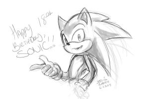 Happy 18th, Sonic by BlizzardWolf