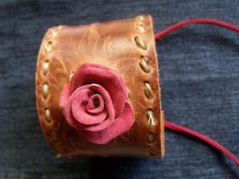 Leather Rose Cuff by ErinShand