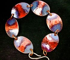 blue and red penny braclet by Haeddre