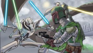 Boba Fett vs. Grievous by chrisbeaver
