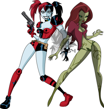 Harley Quinn and Poison Ivy (Bruce Timm Style) by MAD-54
