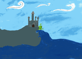 Dragon castle by the sea by VesperaHiems