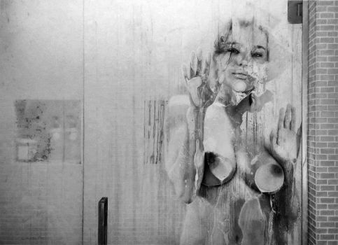 Ballpoint Pen Drawing - Behind the Glass II by LopezLorenzana