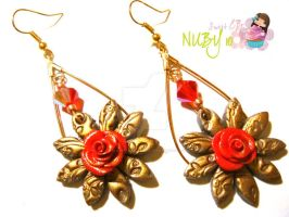 Vintage Red Rose Earrings by colourful-blossom
