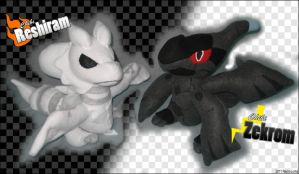 Chibi Reshiram and Zekrom plushies by Neon-Juma