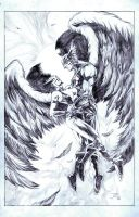 Hawkman and Hawkgirl Pinup by sketchpadstudios