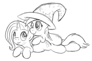 Trixie and Derpy by drawponies