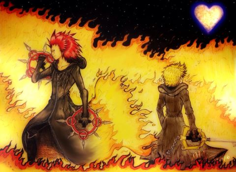 Axel and Roxas -COLORED- by MNS-Prime-21