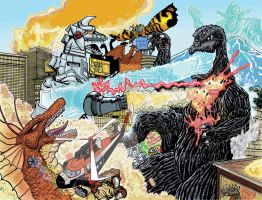 Terror Of MechaGodzilla re-imagined  Full Color by fbwash