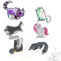 Sketchy chibi requests from stream by Domisea