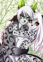 Snow Leopard Couple by playfurry